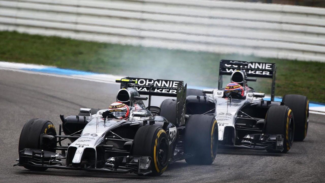 Kevin Magnussen (DEN) leads team mate Jenson Button (GBR), 20.07.2014, German Grand Prix, Hockenheim / XPB