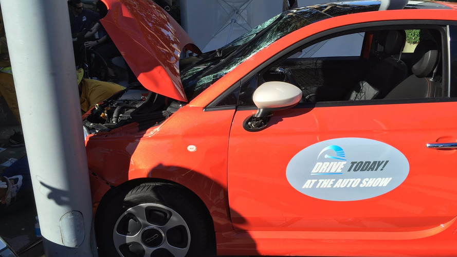 Fiat 500e test drive crash at LA Auto Show injures six