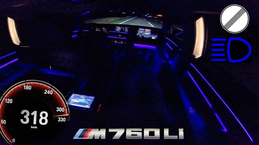 Driving BMW M760i At Almost 200 MPH At Night Looks Dangerous