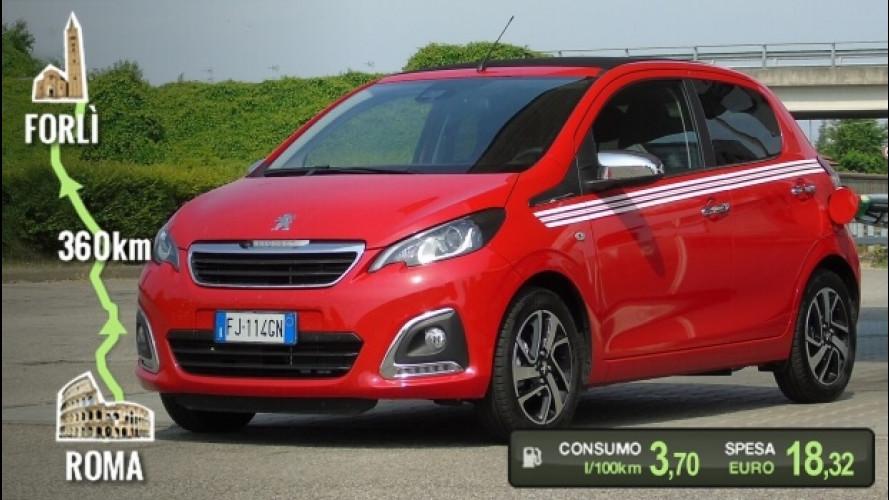 Peugeot 108 PureTech 82, la prova dei consumi reali