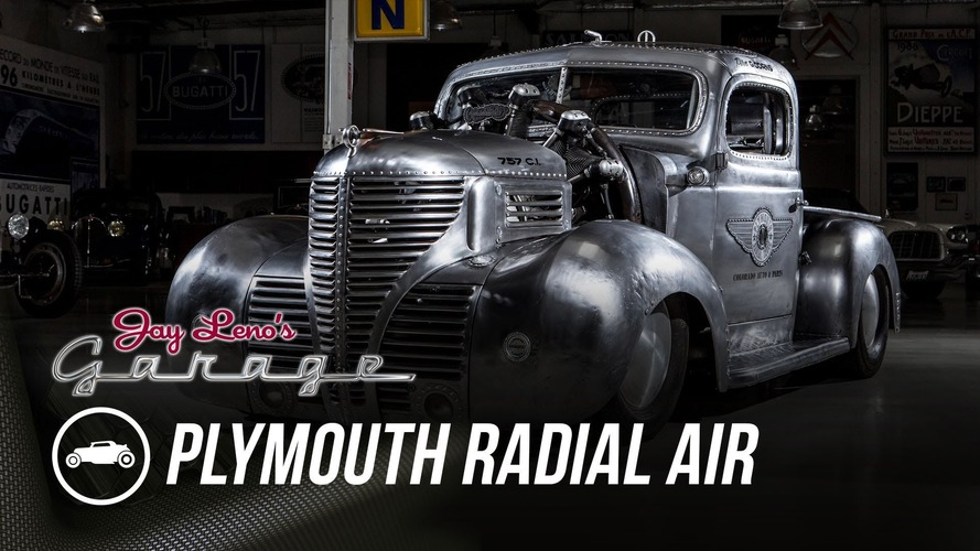 Jay Leno meets a radial-engined Plymouth pickup