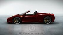 Ferrari 458 Italia Spider artist rendering, Vinaccia (Deep Red Metallic) color