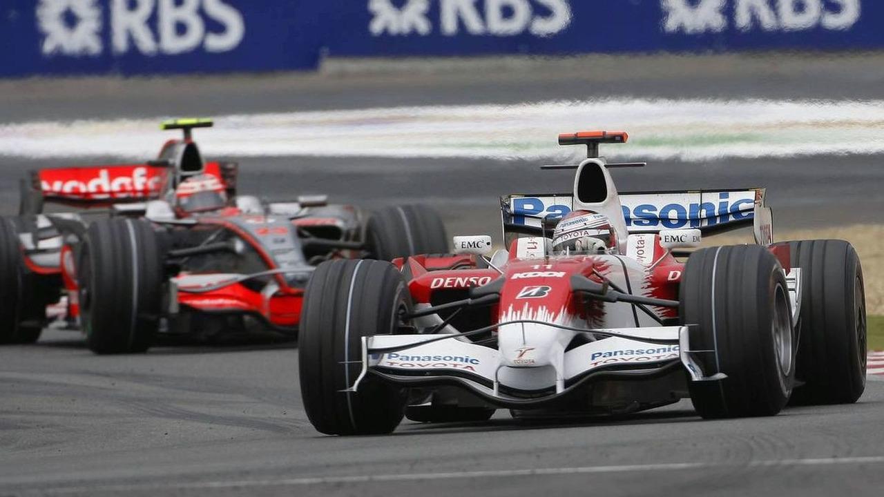 Jarno Trulli (ITA), TF108 and Heikki Kovalainen (FIN), MP4-23, French Grand Prix, Sunday Race, 22.06.2008 Magny Cours, France