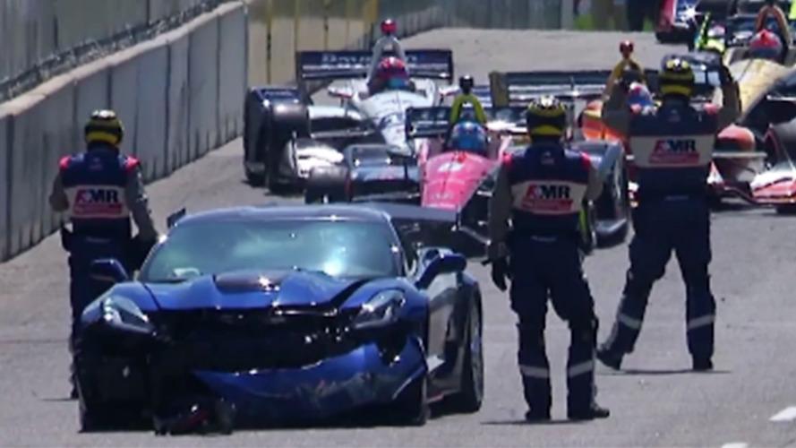 GM exec crashes safety car at Detroit Indycar race