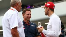 (L to R): Dr Helmut Marko, Red Bull Motorsport Consultant with Christian Horner, Red Bull Racing Team Principal and Sebastian Vettel, Ferrari