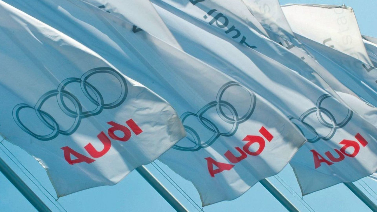 Audi logo flags, 120th Annual General Meeting of AUDI AG 2009, 08.04.2010