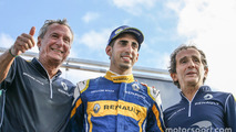 Jean-Paul Driot, race winner Sébastien Buemi and Alain Prost, Renault e.Dams