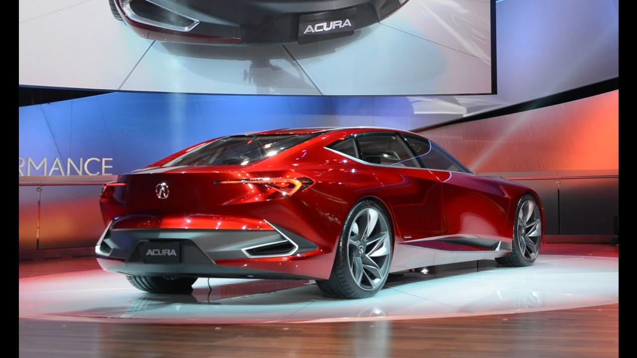 """Salão de Detroit: Acura Precision mostra design """"afiado"""" para encarar Lexus"""